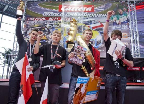 Carrera Finalisten v.l. Markus Loth, Jakub Kuligowski, Manuel Radlinger, Hans Hüttlinger