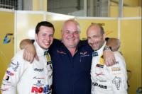 Alessi und Keilwitz mit Teamchef Ernst Wöhr