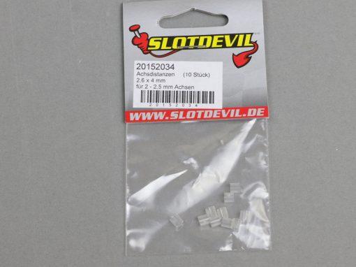 20152034 SlotDevil Achsdistanzen 2,6 x 4 mm für 2 bis 2,5 mm Slotcar Achsen