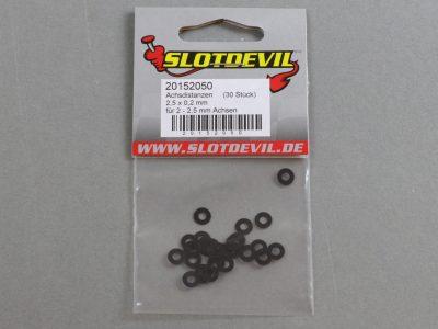 20152050 SlotDevil Achsdistanzen 2,5 x 0,2 mm für 2 bis 2,5 mm Slotcar Achsen
