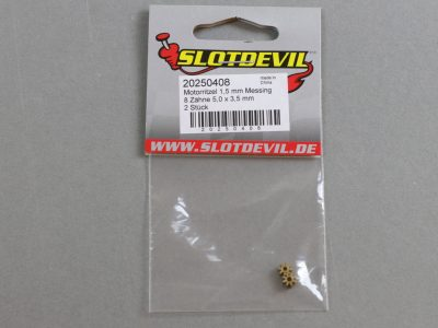 20250408 SlotDevil Slotcar Motorritzel Messing 8 Zähne 1,5 mm