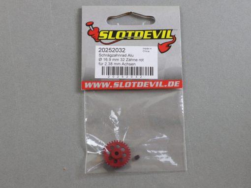 20252032 SlotDevil Schrägzahnrad 32 Zähne für 2,38 mm 16,9 mm Achsen grün