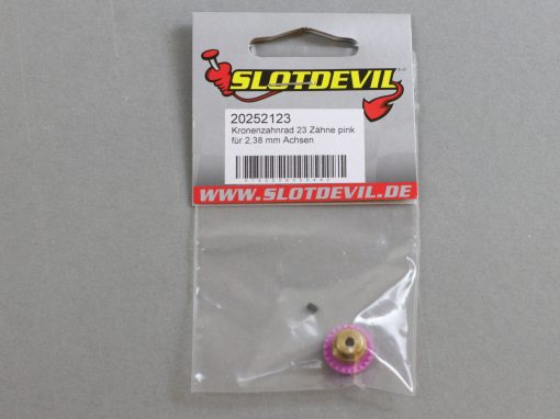 20252123 SlotDevil Kronenzahnradrad 23 Zähne für 2,38 mm Slotcar Achsen pink