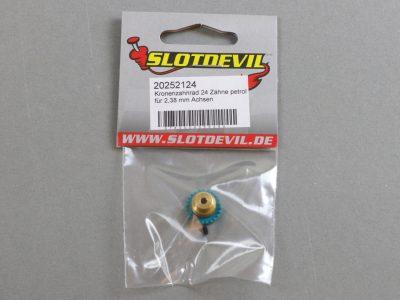20252124 SlotDevil Kronenzahnradrad 24 Zähne für 2,38 mm Slotcar Achsen petrol