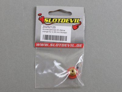20252125 SlotDevil Kronenzahnrad 25 Zähne für 2,38 mm Slotcar Achsen - orange