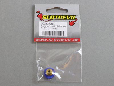 20252126 SlotDevil Kronenzahnrad 26 Zähne für 2,38 mm Slotcar Achsen blau