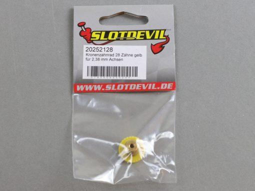 20252128 SlotDevil Kronenzahnradrad 28 Zähne für 2,38 mm Slotcar Achsen gelb