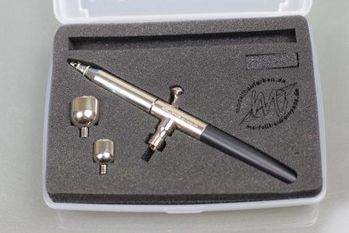 Airbrush Triplex MBK-MG-401-1 mit kleinem und großem Farbbecher in Box offen