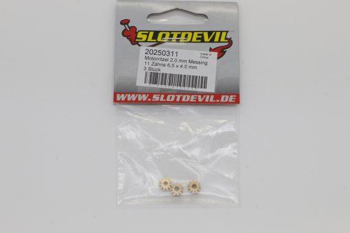 Slotcar Motorritzel Messing 11 Zähne für Motorwellen mit 2 mm Durchmesser - 20250311