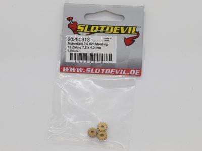 Slotcar Motorritzel Messing 13 Zähne für Motorwellen mit 2 mm Durchmesser - 20250313