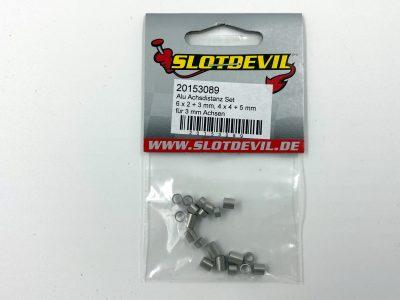 Slotdevil Achsdistanzen Set (20 Stück) aus Alu für 3 mm Achsen