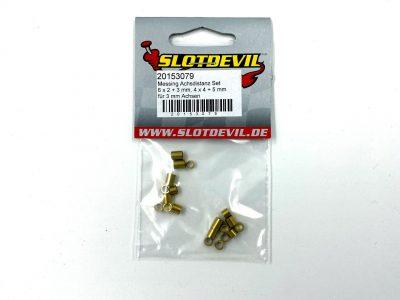Slotdevil Achsdistanzen Set 20 Stück aus Messing für 3 mm Achsen