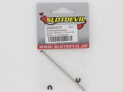 Slotdevil Freilaufachse 3 x 70 mm mit eingefräster Nut und Sprengring 200353070