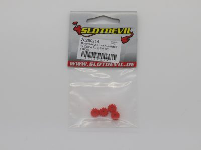 Slotdevil Kunststoff Motorritzel 14 Zähne M50 für 2 mm (4 Stück) – 20250214