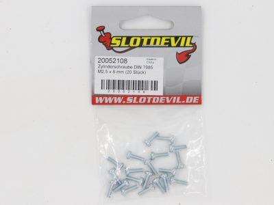 Slotdevil Zylinderschrauben DIN 7985A 4.8 M2,5 x 8 mm vernickelt (20 Stück) 20052108