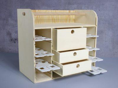 Slotkoffer Bausatz aus Holz seitlich
