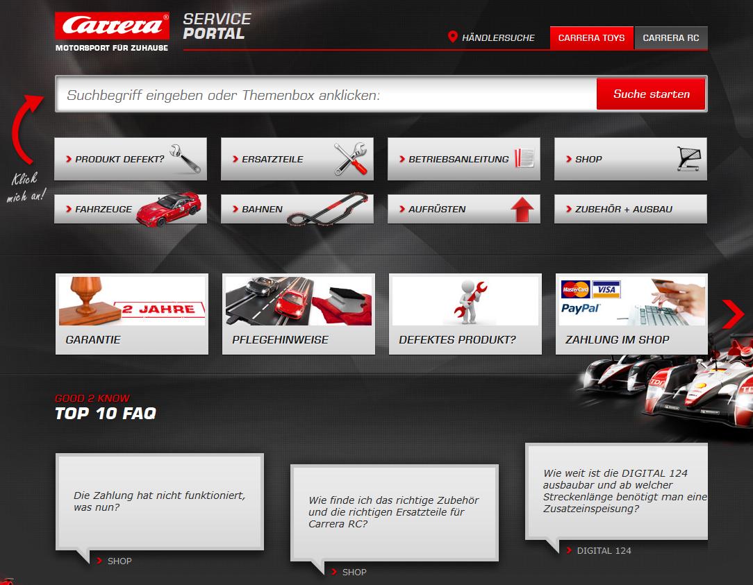 Neues Carrera Kundenserviceportal