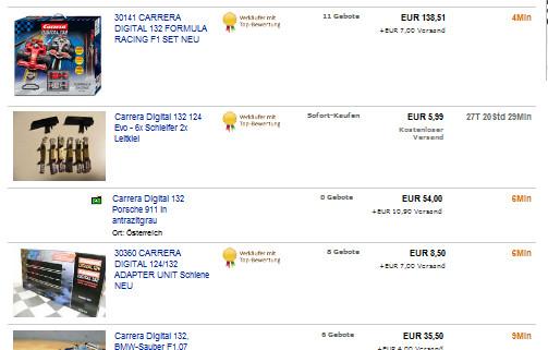 Ebay-Suchen für Carrera Digital 124 Slotcars